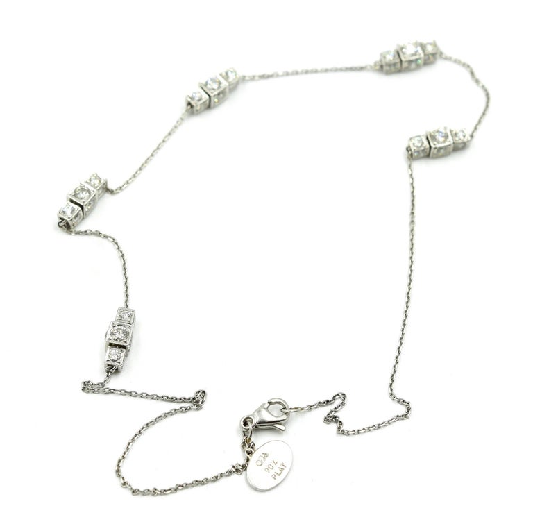 "Women's ""Michael B"" Diamond Sugar Cube Station Necklace For Sale"