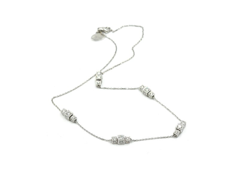 "Modern ""Michael B"" Diamond Sugar Cube Station Necklace For Sale"