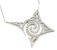 Stefan Hafner 18 Karat White Gold and 1.29 Carat Diamond Pendant Necklace