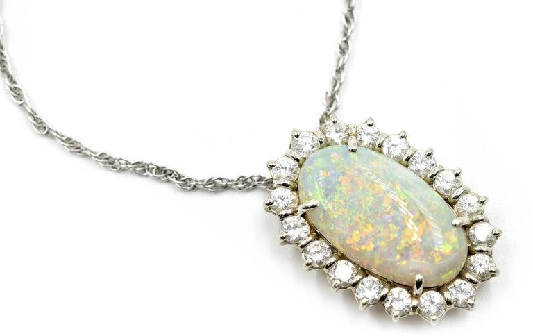 14 karat white gold 180 carat diamond and opal pendant necklace at oval cut 14 karat white gold 180 carat diamond and opal pendant necklace for sale aloadofball Gallery