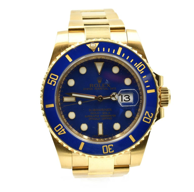 Rolex Yellow Gold Blue Ceramic Submariner automatic Wristwatch Ref 116618LB