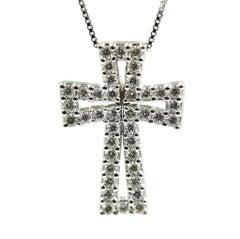 14 Karat White Gold Diamond Cross Necklace