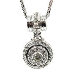 18 Karat Gold 1.35 Carat Round Diamond Halo Pendant on 14 Karat Necklace