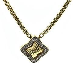 David Yurman 18 Karat Yellow Gold 0.31 Carat Diamond Pendant Necklace