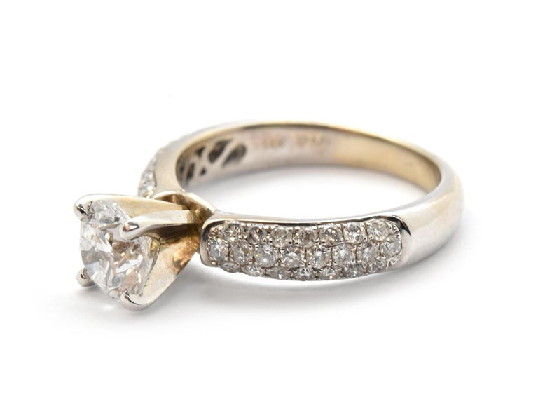 Round Cut 14 Karat White Gold and 1.05 Carat Round Diamond Ring with Pave Shank For Sale