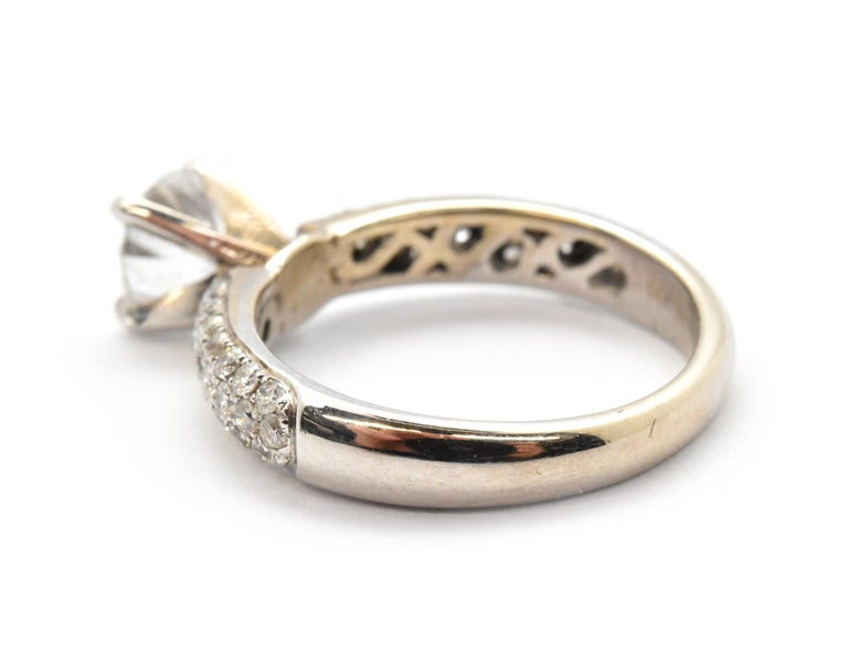 14 Karat White Gold and 1.05 Carat Round Diamond Ring with Pave Shank In Excellent Condition For Sale In Scottsdale, AZ