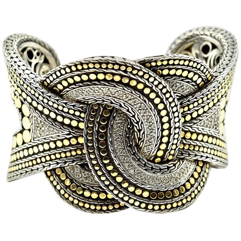 John Hardy Sterling Silver And 18k Yellow Gold Diamond Weaved Dot Cuff Bracelet For