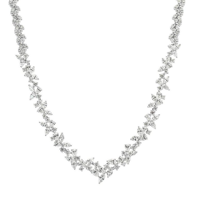 Mark Broumand 17.75 Carat Fancy Cluster Diamond Necklace in 18 Karat White Gold
