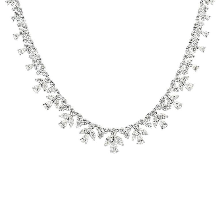 Mark Broumand 14.15 Carat Fancy Cluster Diamond Necklace in 18 Karat White Gold