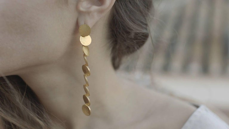 Contemporary Timeless Gold-Plated Brass Coin Shaped Greek Drop Earrings For Sale