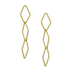 Timeless Gold-Plated Brass Arrow Shaped Greek Drop Earrings