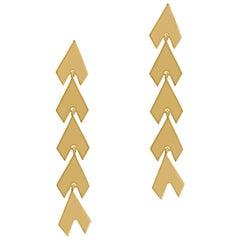 Timeless Gold-Plated Brass Arrow Shaped Greek Drop Earrings