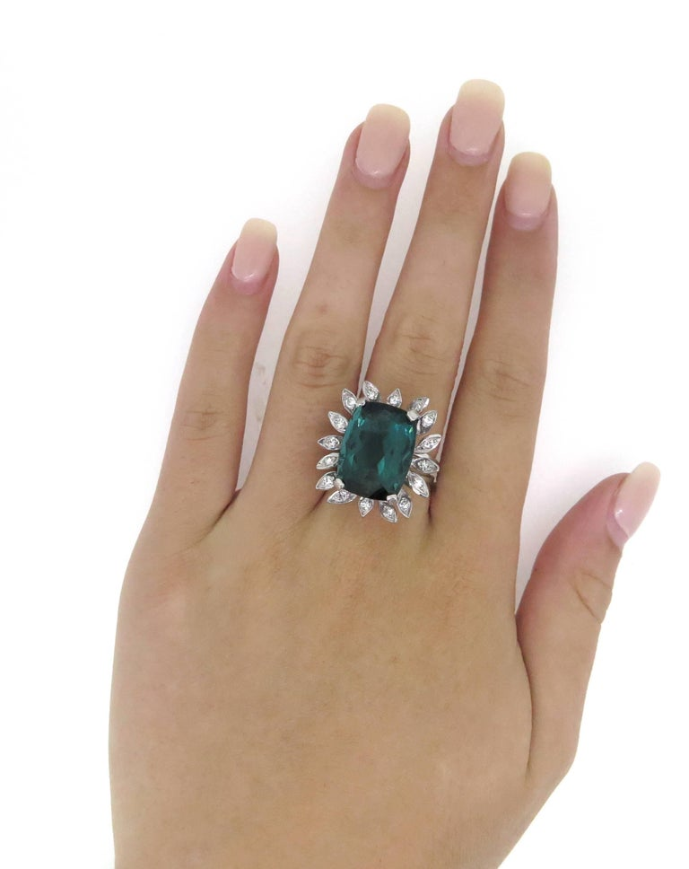 Retro 16 Carat Green Tourmaline Diamond Cocktail Ring For Sale
