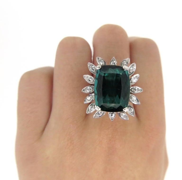 Cushion Cut 16 Carat Green Tourmaline Diamond Cocktail Ring For Sale