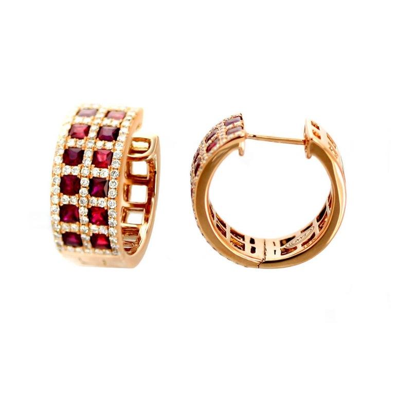 19K Gold, Diamond, Ruby Enny Earrings