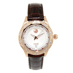 Rose Tone White Face Red leather Strap Branded Women Watch