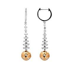 19 Karat Gold and Diamond Hoop Earrings