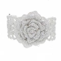 Siledium Silver Rhodium Palladium Plating Flower Bracelet