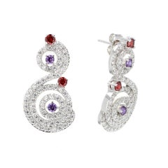 Silver Rhodium Plating Amethyst Garnet Stud Earrings by Feri