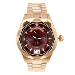 Rose Tone Sapphire Crystal Glass Brown Face Swiss Movement Watch