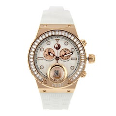 Rose Tone Crystal Glass Durable Silicon Brand Swiss Movement Watch by Feri