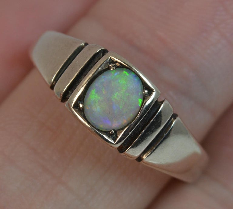Women's or Men's Victorian 15 Carat Gold and Opal Solitaire Gypsy Solitaire Stack Ring For Sale
