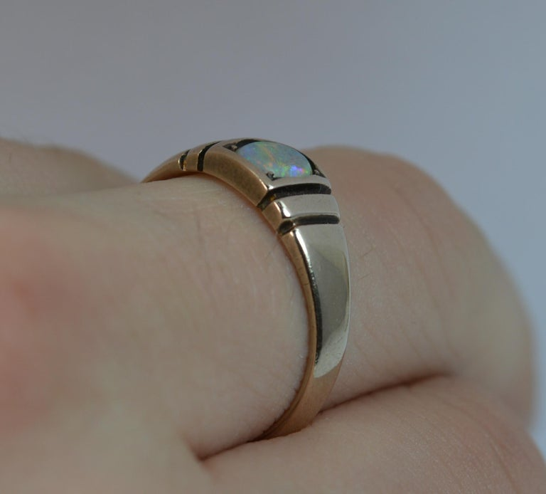 Victorian 15 Carat Gold and Opal Solitaire Gypsy Solitaire Stack Ring In Excellent Condition For Sale In St Helens, GB