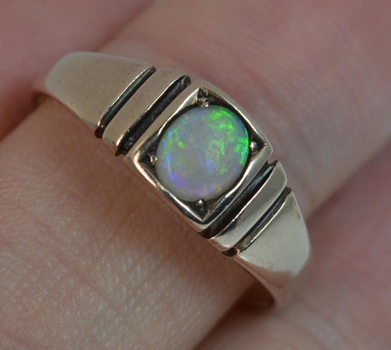 Victorian 15 Carat Gold and Opal Solitaire Gypsy Solitaire Stack Ring For Sale 1
