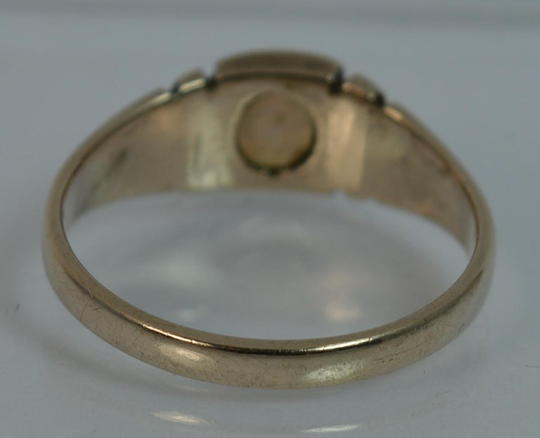 Victorian 15 Carat Gold and Opal Solitaire Gypsy Solitaire Stack Ring For Sale 3