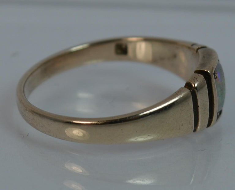 Victorian 15 Carat Gold and Opal Solitaire Gypsy Solitaire Stack Ring For Sale 4
