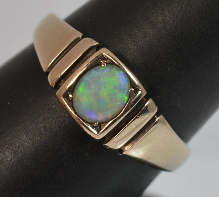 Victorian 15 Carat Gold and Opal Solitaire Gypsy Solitaire Stack Ring For Sale 5