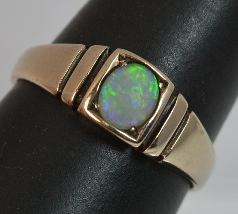 Victorian 15 Carat Gold and Opal Solitaire Gypsy Solitaire Stack Ring For Sale 6