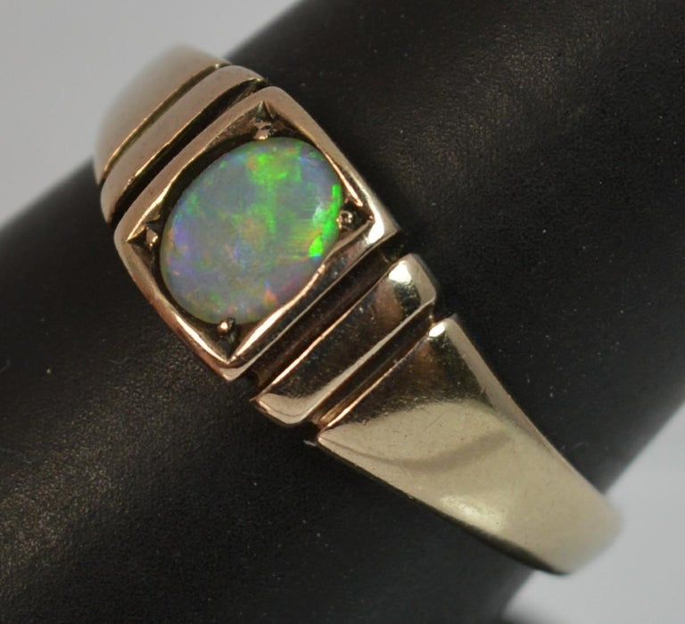 Victorian 15 Carat Gold and Opal Solitaire Gypsy Solitaire Stack Ring For Sale 7