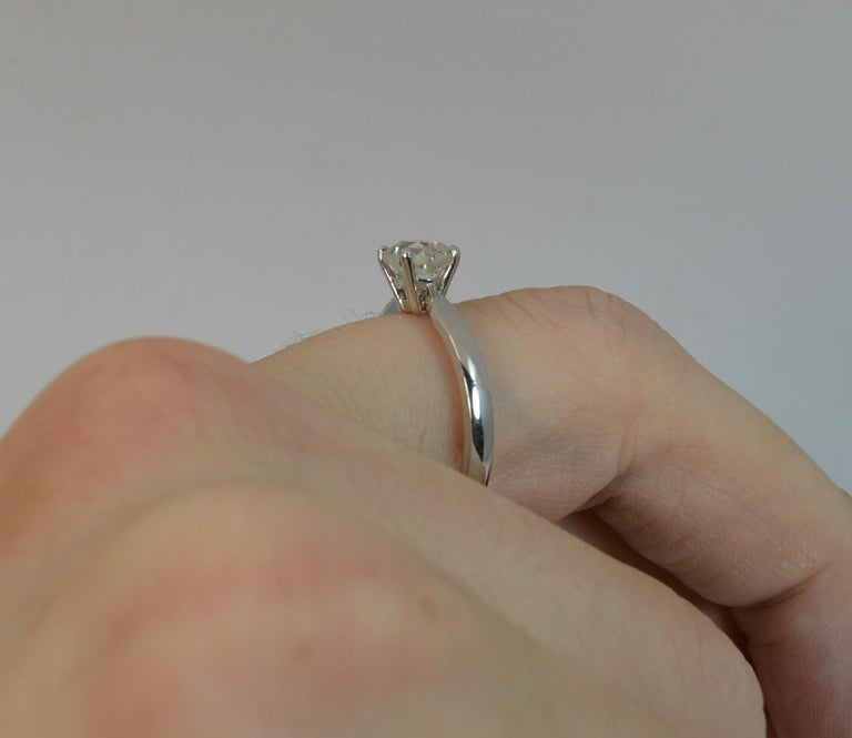Victorian 1.06 Carat Old Cut Diamond 18 Carat White Gold Solitaire Engagement Ring For Sale