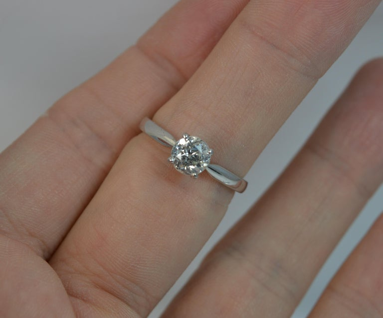 1.06 Carat Old Cut Diamond 18 Carat White Gold Solitaire Engagement Ring In Excellent Condition For Sale In St Helens, GB