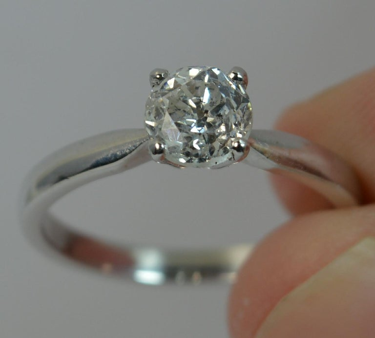 Women's 1.06 Carat Old Cut Diamond 18 Carat White Gold Solitaire Engagement Ring For Sale