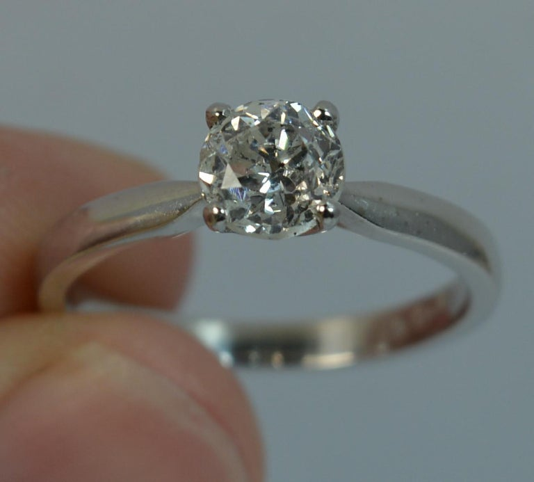 1.06 Carat Old Cut Diamond 18 Carat White Gold Solitaire Engagement Ring For Sale 1
