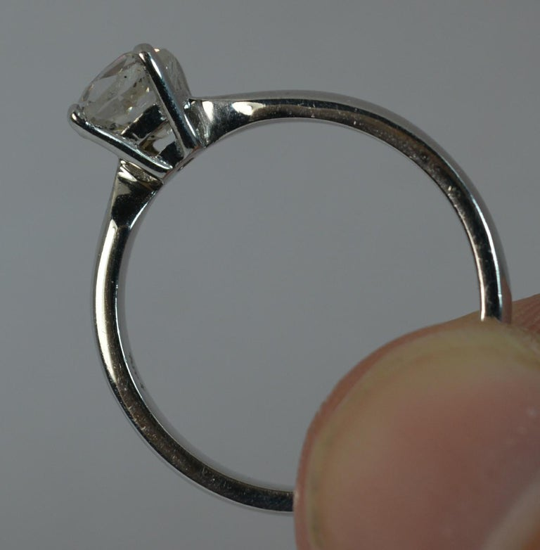 1.06 Carat Old Cut Diamond 18 Carat White Gold Solitaire Engagement Ring For Sale 2