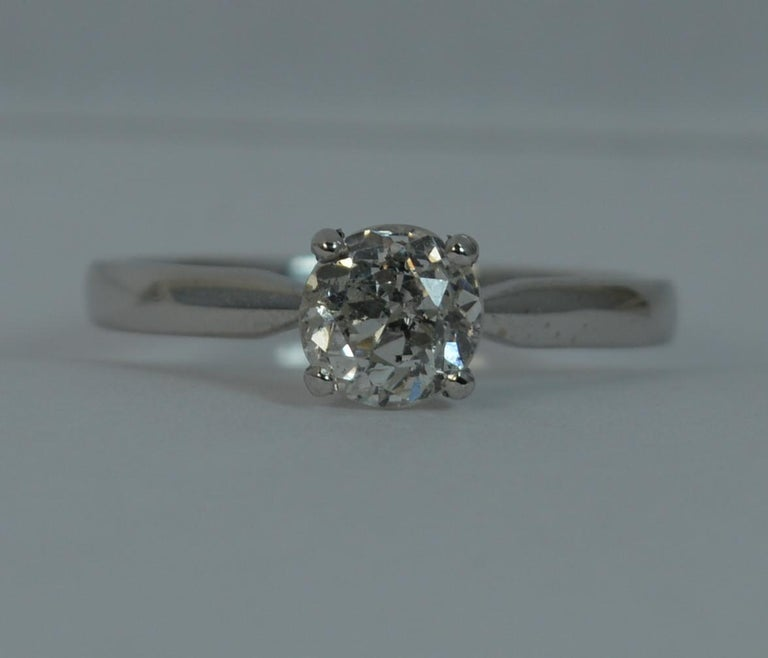 1.06 Carat Old Cut Diamond 18 Carat White Gold Solitaire Engagement Ring For Sale 7