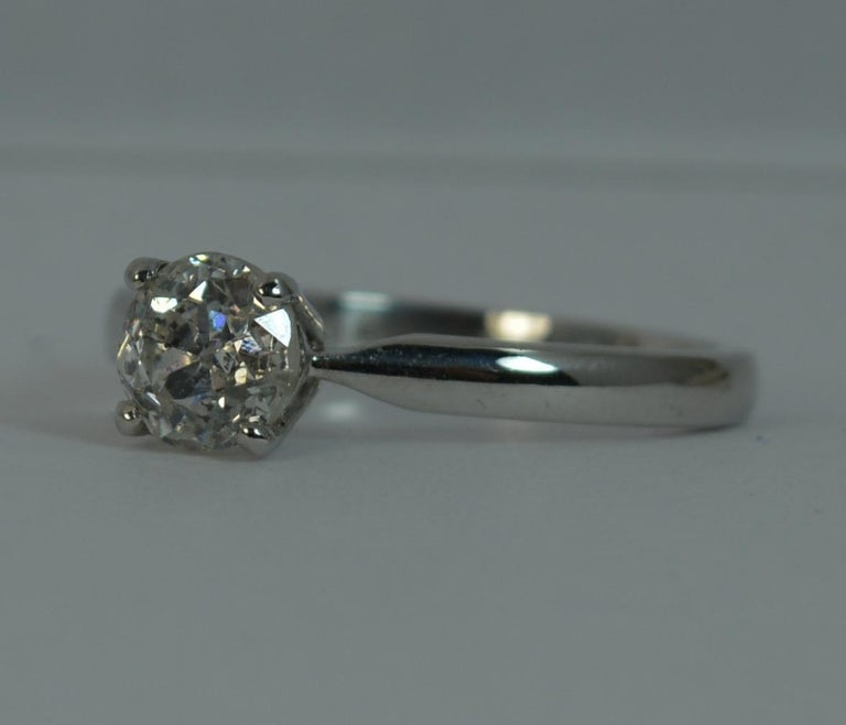 1.06 Carat Old Cut Diamond 18 Carat White Gold Solitaire Engagement Ring For Sale 8