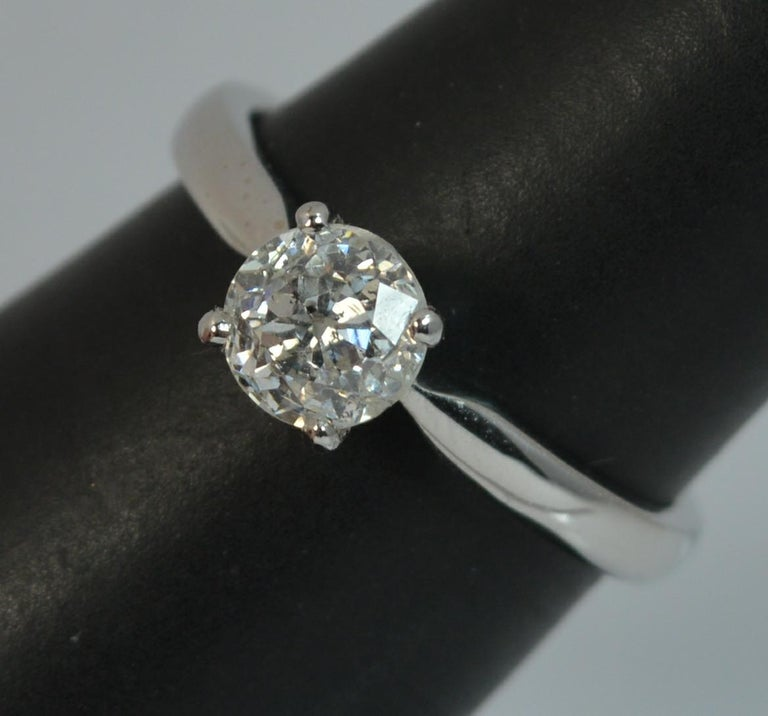 1.06 Carat Old Cut Diamond 18 Carat White Gold Solitaire Engagement Ring For Sale 11