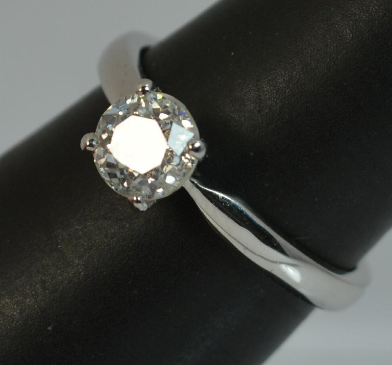 1.06 Carat Old Cut Diamond 18 Carat White Gold Solitaire Engagement Ring For Sale 12