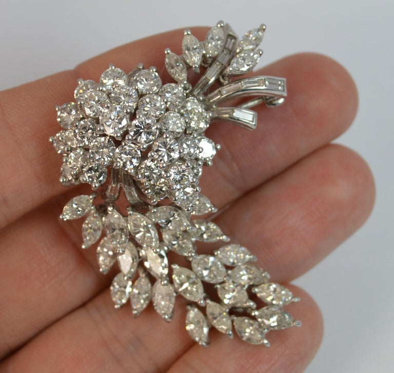 Natural VS 10 Carat Diamond and Platinum Floral Spray Brooch In Excellent Condition For Sale In St Helens, GB