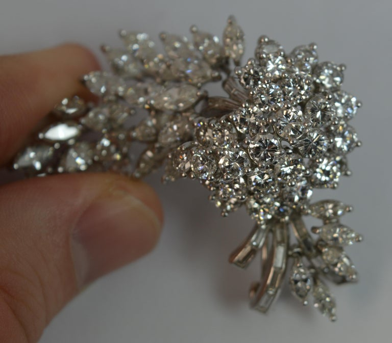 Natural VS 10 Carat Diamond and Platinum Floral Spray Brooch For Sale 6
