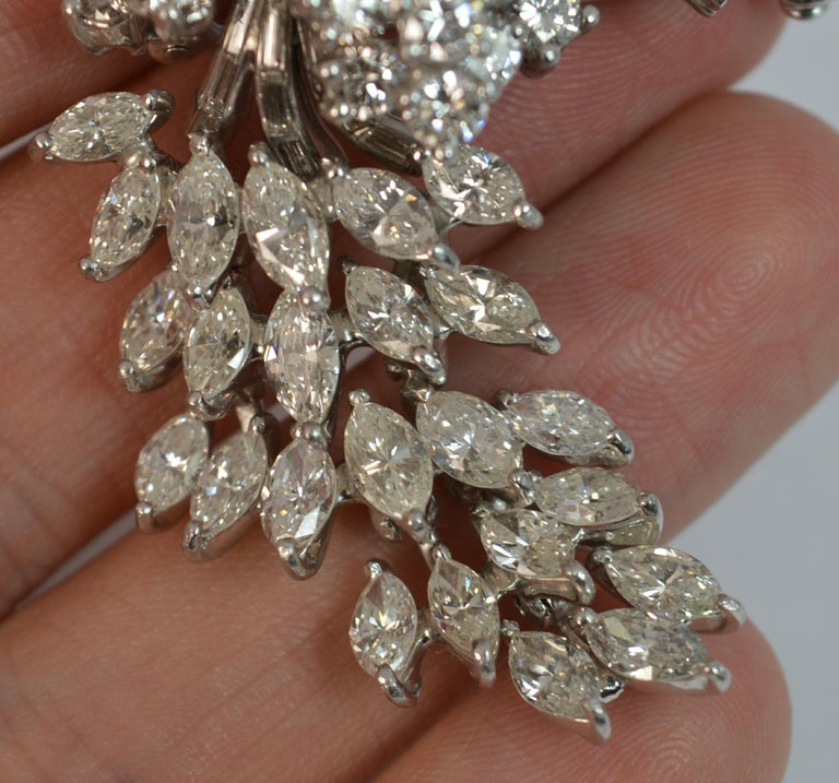 Natural VS 10 Carat Diamond and Platinum Floral Spray Brooch For Sale 7