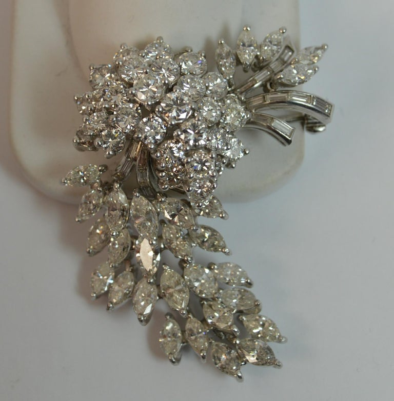 Natural VS 10 Carat Diamond and Platinum Floral Spray Brooch For Sale 10