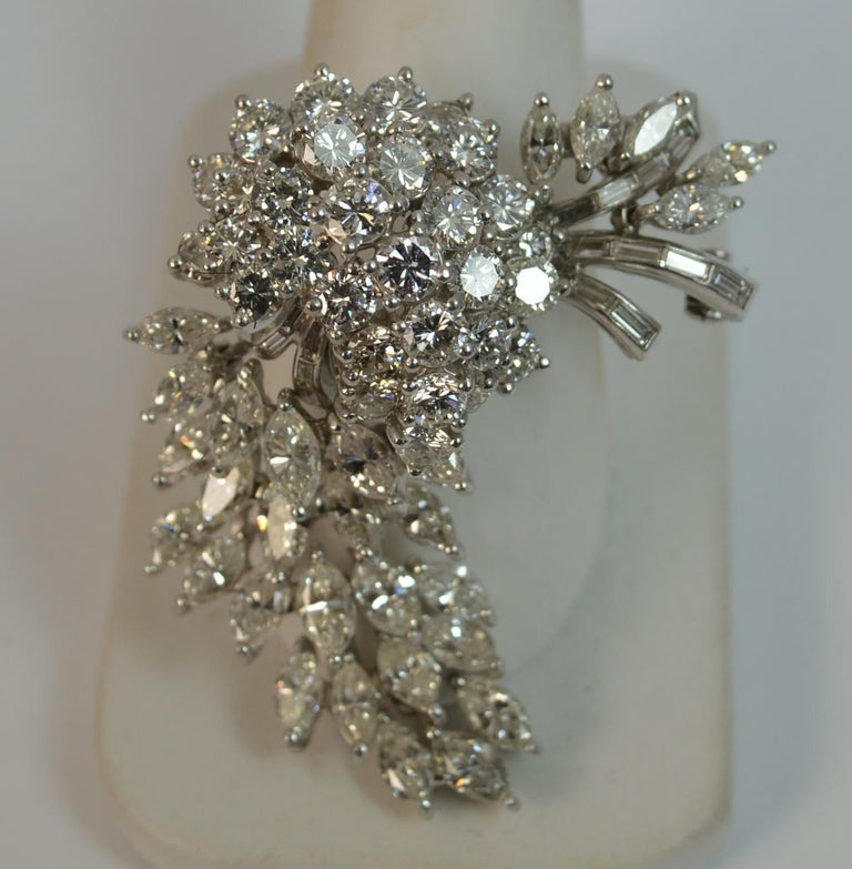 Natural VS 10 Carat Diamond and Platinum Floral Spray Brooch For Sale 11