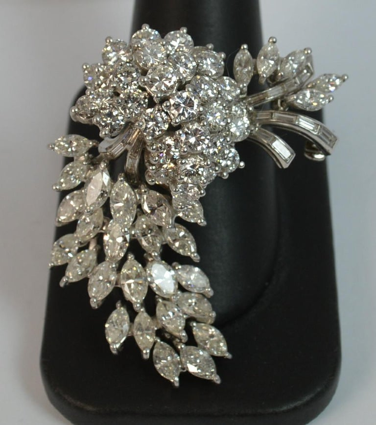 Natural VS 10 Carat Diamond and Platinum Floral Spray Brooch For Sale 12