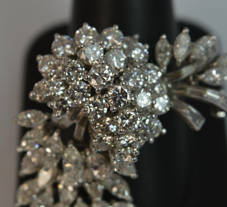 Natural VS 10 Carat Diamond and Platinum Floral Spray Brooch For Sale 13