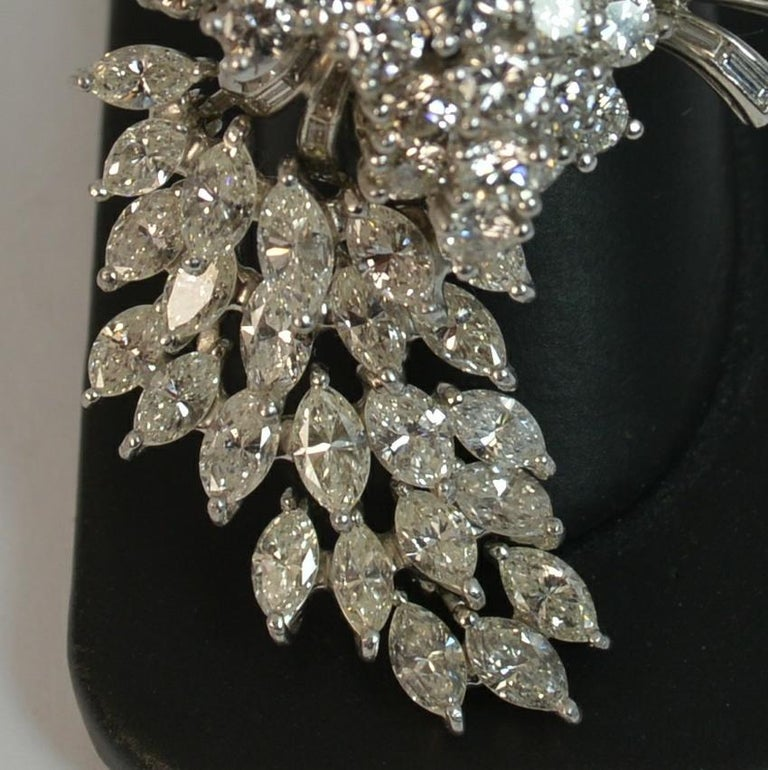 Natural VS 10 Carat Diamond and Platinum Floral Spray Brooch For Sale 14